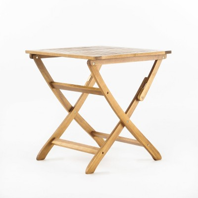 Positano Acacia Square Wood Foldable Bistro Table - Christopher Knight Home