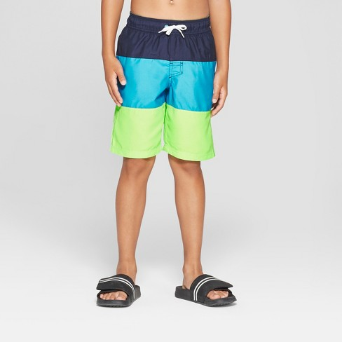 e32b67f8c0 Boys' Tiered Swim Trunks - Cat & Jack™ Green L Husky : Target