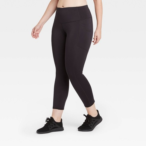 """Women's Sculpted Mid-Rise 7/8 Leggings 24"""" - All in Motion™ Black - image 1 of 4"""