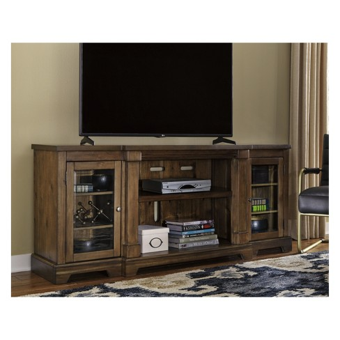 Flynnter Extra Large Tv Stand With Fireplace Option Medium Brown