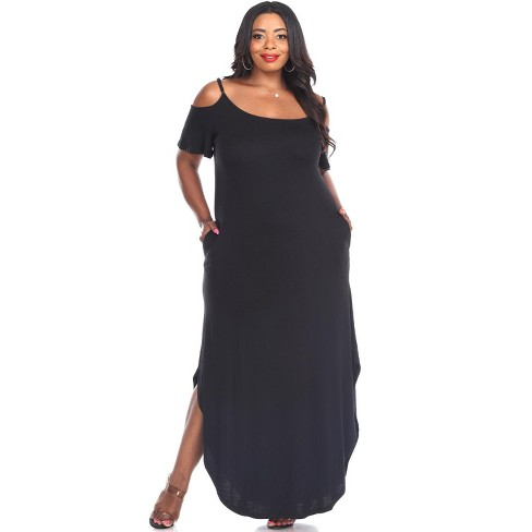 Women's Plus Size Cold Shoulder Lexi Maxi Dress with Pockets - White Mark - image 1 of 3
