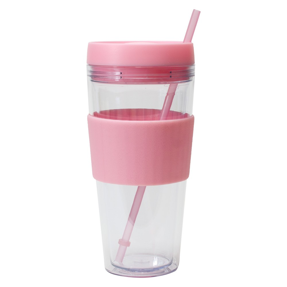 Cool Gear Plastic Tumbler With Lid And Straw 24oz - Pink