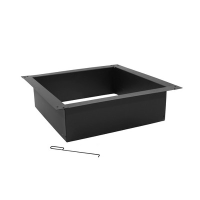 """Sunnydaze Outdoor Heavy-Duty Steel Portable Above Ground or In-Ground Square Fire Pit Liner Ring - 30"""" - Black"""