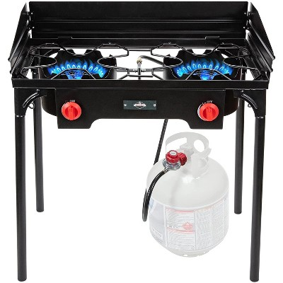 Hike Crew Cast Iron Double-Burner Outdoor Gas Stove   150,000 BTU Portable Propane-Powered Cooktop with Removable Legs, Temperature Control Knobs, Wind Panels, Hose, Regulator & Storage Carry Case