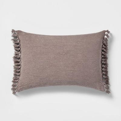 Natural Washed Linen Tassel Lumbar Pillow - Threshold™
