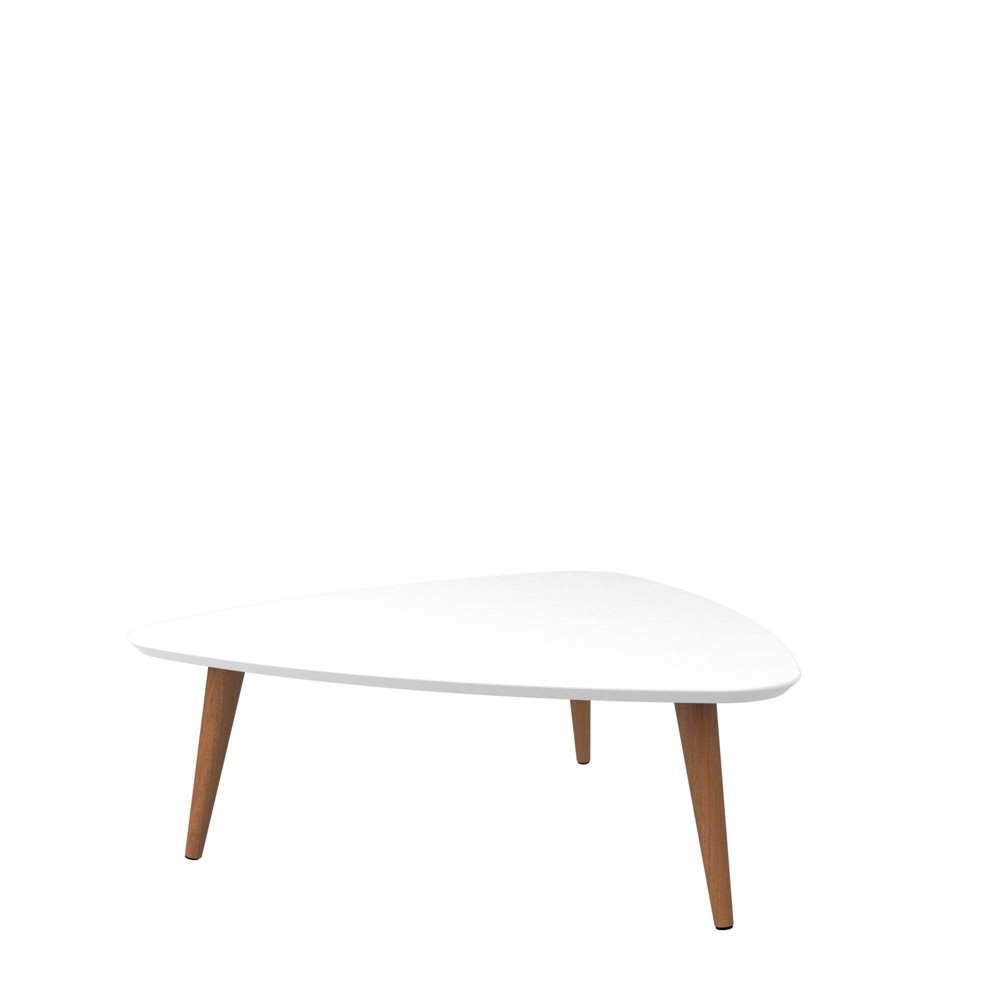 "Image of ""11.81"""" Utopia High Triangle Coffee Table with Splayed Legs Gloss White - Manhattan Comfort"""