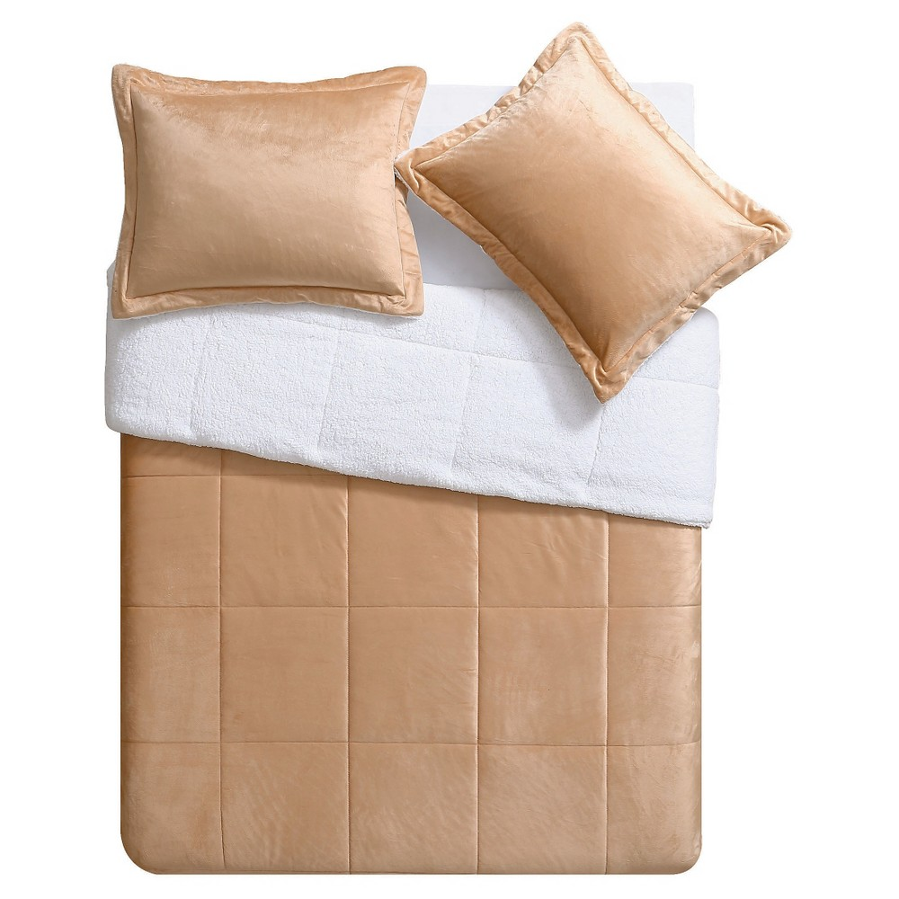Image of Camel Micro Mink Sherpa Reversible Comforter Set 2 Piece (Twin) - VCNY