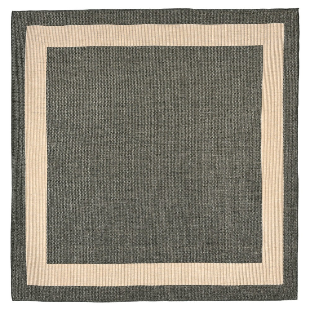 Terrace Indoor/Outdoor Border Charcoal Square Rug 7'10 Gray - Liora Manne