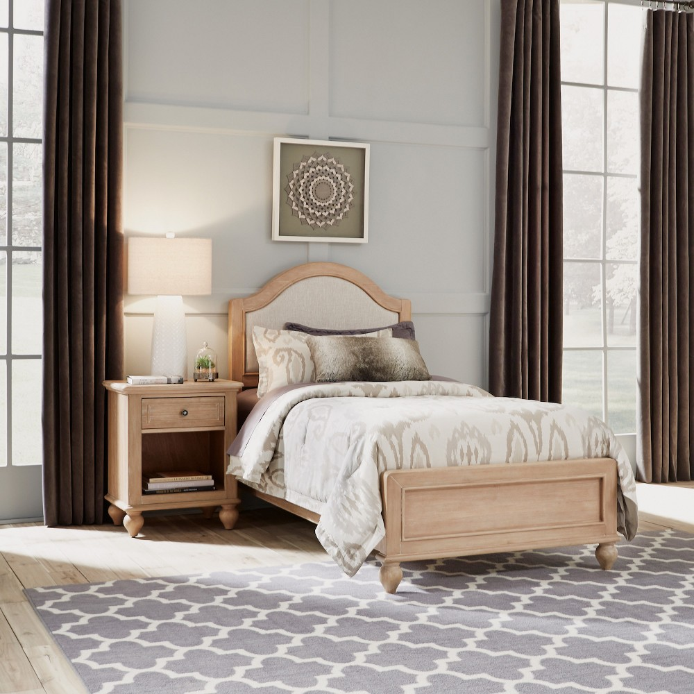 Home Styles Twin Cambridge Bed & Night Stand White Wash