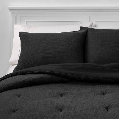 Full/Queen Micro Texture Comforter & Sham Set Black - Project 62™ + Nate Berkus™