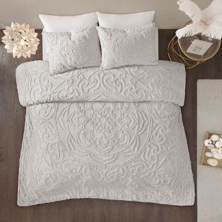 3pc King/California King Cecily Tufted Cotton Chenille Medallion Duvet Cover Set - Ivory