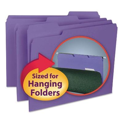 Smead Interior File Folders 1/3 Cut Top Tab Letter Purple 100/Box 10283