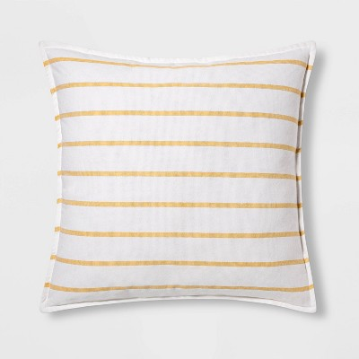 Woven Striped Oversized Square Pillow Yellow/White - Threshold™