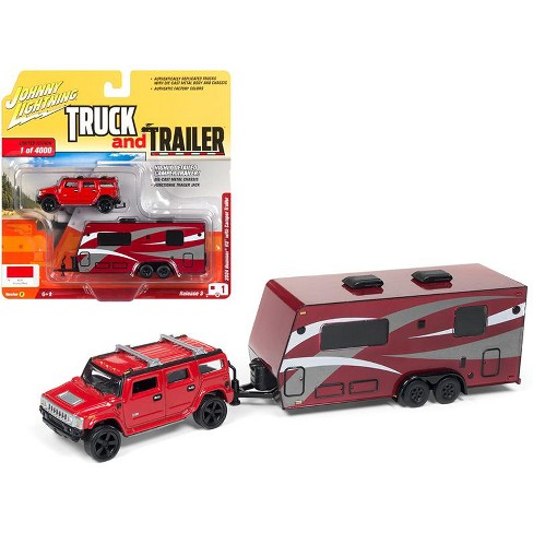 2004 Hummer H2 Red with Dark Red Camper Trailer Limited Edition to 4,000 pieces 1/64 Diecast Car by Johnny Lightning - image 1 of 1