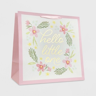 Large 'Hello Little One' on Pink Floral Baby Shower Gift Bag - Spritz™
