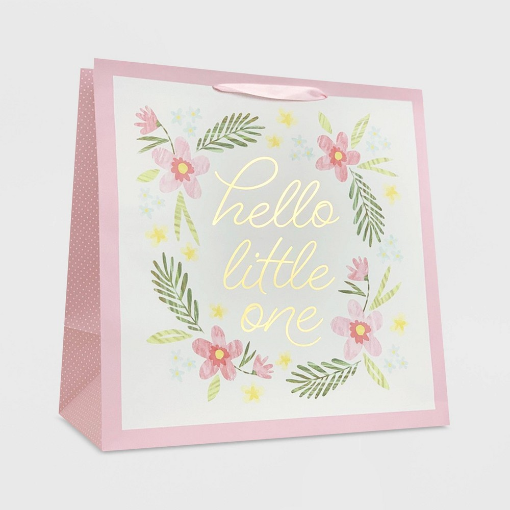 """Image of """"""""""""Hello Little One"""""""" on Floral Square Gift Bag - Spritz"""""""