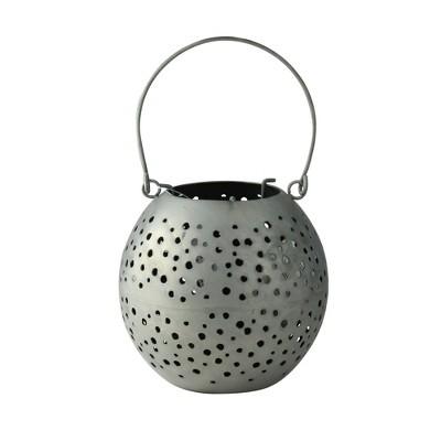 """Kaemingk 6.25"""" Botanic Beauty Gray Zinc Cut-Out Candle Holder Lantern"""
