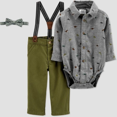 Baby Boys' Dino Chambray Shifley Top & Bottom Set with Bowtie - Just One You® made by carter's Blue 3M