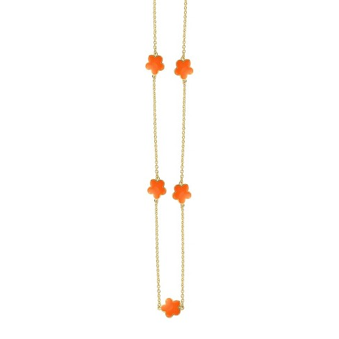"Zirconite Gold Plated Station Necklace with Enameled Daisies Orange - 16"" - image 1 of 2"