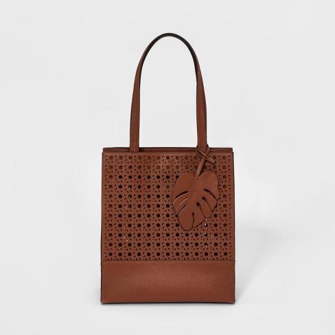 Square Saffiano Tote Handbag - A New Day™ - image 1 of 3