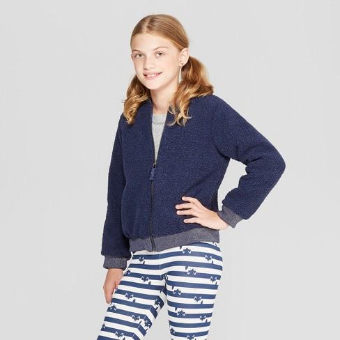 Girls' Sherpa Bomber Jacket - Cat & Jack™ Blue S - image 1 of 3