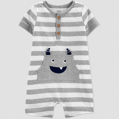 Baby Boys' Stripe Monster Romper - Just One You® made by carter's Gray Newborn