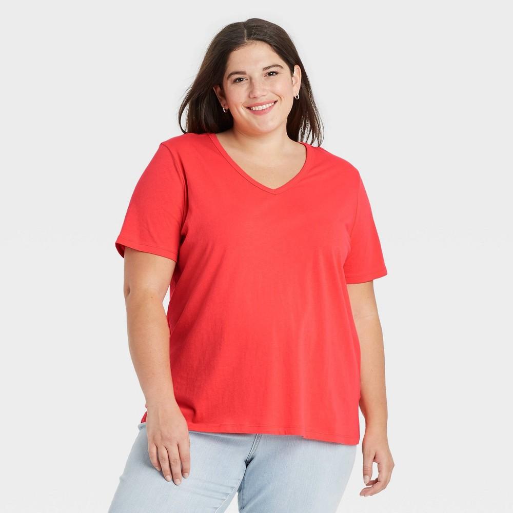 Women 39 S Plus Size Short Sleeve V Neck Slim Fit Essential T Shirt Ava 38 Viv 8482 Orange 1x