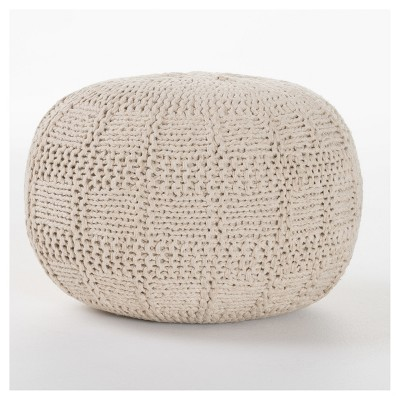 Yuny Pouf Ottoman - Ivory - Christopher Knight Home