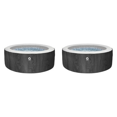 JLeisure Avenli Vancouver 1,200 Liter 63 inch 6 Person Inflatable Hot Tub Spa with Insulated Cover and Floor Protector, Black Wood Finish (2 Pack)
