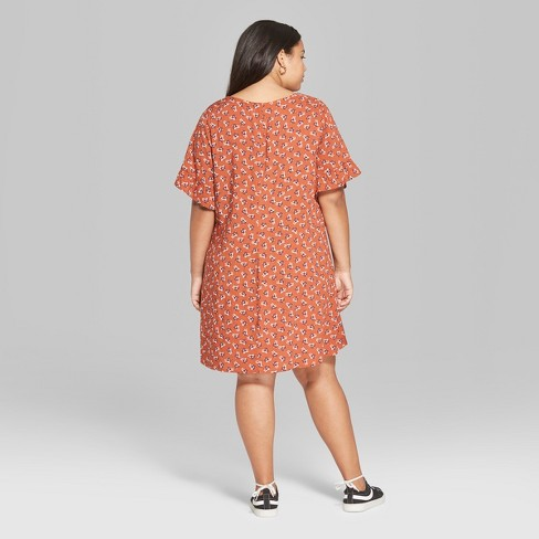 1d9aa88b67 Women s Plus Size Floral Print Short Sleeve Woven Mini Dress - Wild Fable™  Orange New Brew. Shop all Wild Fable