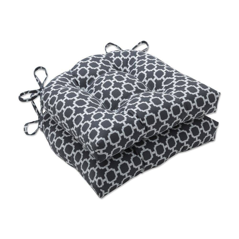Coupons 2pk Outdoor/Indoor Reversible Chair Pad Set Hockley Charcoal Gray - Pillow Perfect