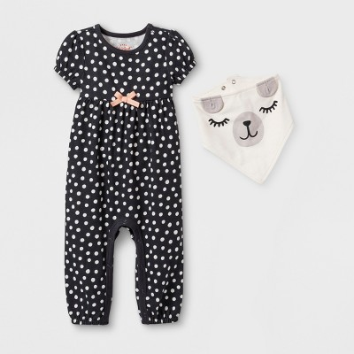 Baby Girls' 2pc Short Sleeve Dot Romper with Puppy Bib - Cat & Jack™ Charcoal 0-3M