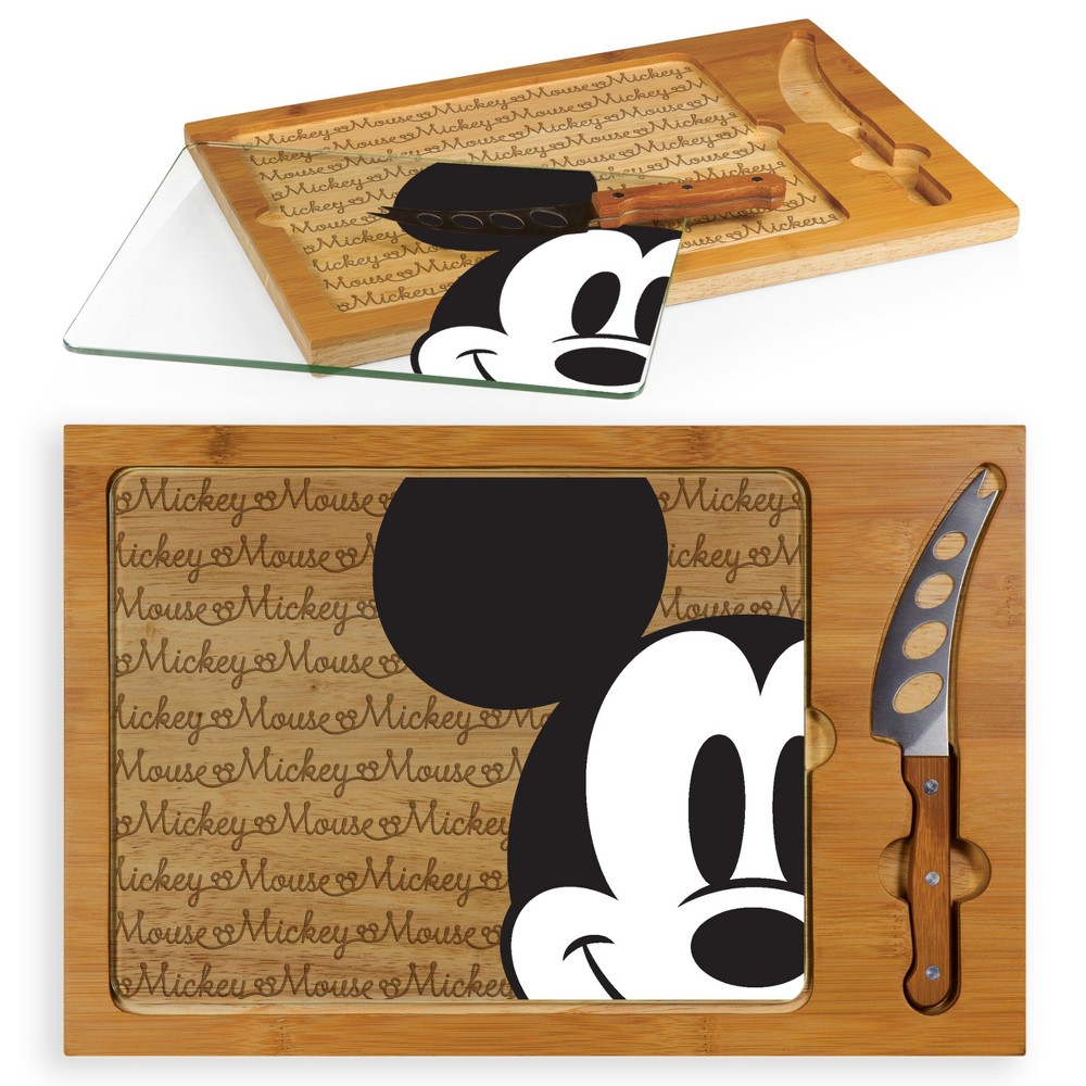 Image of Disney Mickey Mouse Icon Glass Top Wood Serving Tray with Knife Set by Picnic Time, Brown