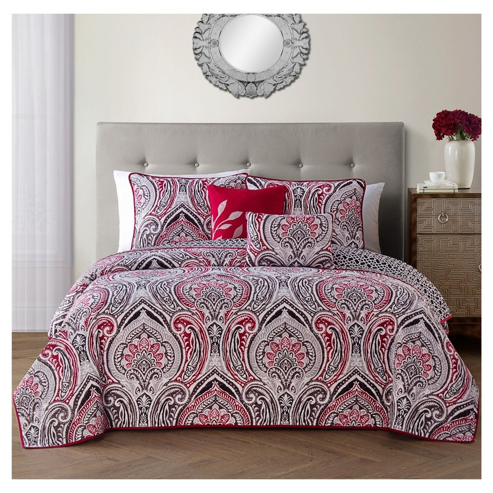 Red Adelle Quilt Set (Queen) 5pc