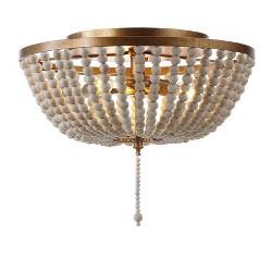 "15"" Allison Wood Beaded/Metal Flush Mount Ceiling Light (Includes Energy Efficient Light Bulb) Antique Gold - JONATHAN Y"