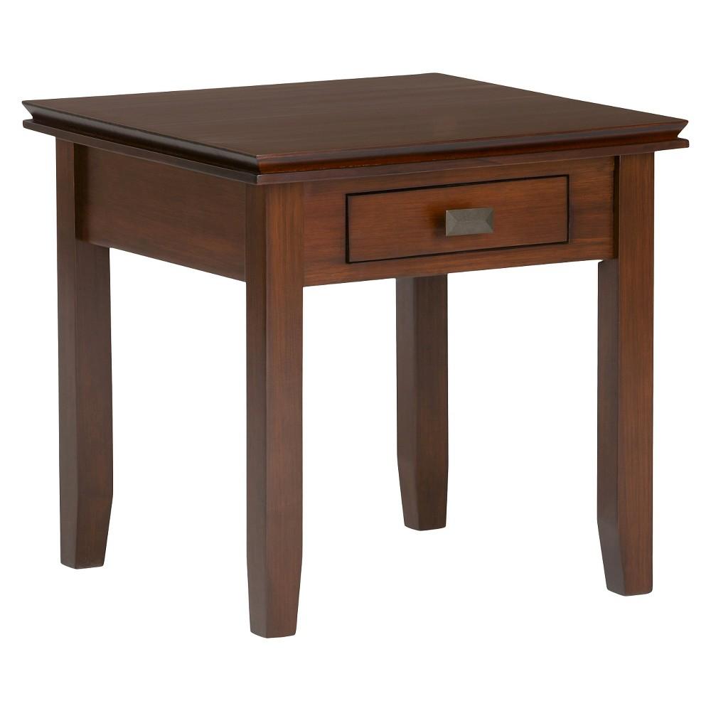 Stratford Solid Wood End Table Medium Auburn Brown - Wyndenhall