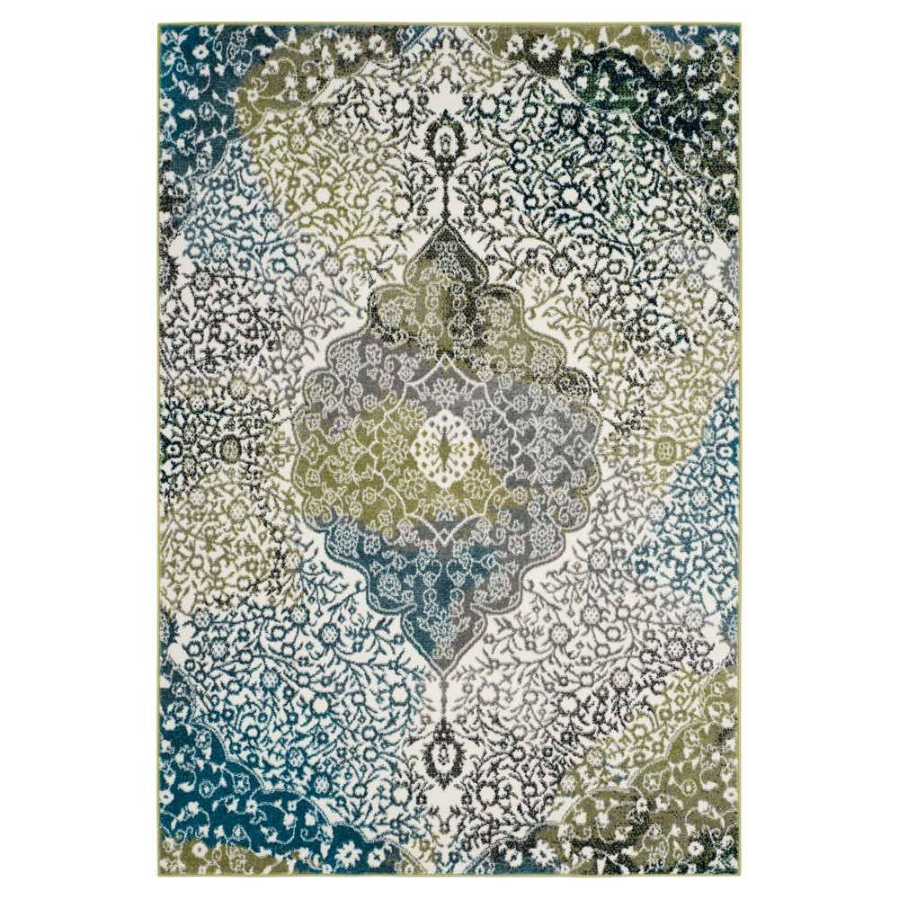 Best Online IvoryPeacock Blue Medallion Loomed Area Rug 67X91 Safavieh