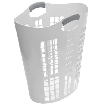 Gracious Living 91786-5C Easy Carry Flex 87.5 Liter Plastic Dirty Clothes Laundry Hamper Basket Bin, Windows, White