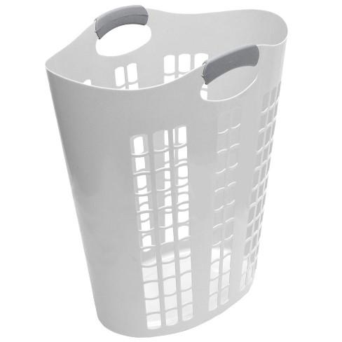 Gracious Living 91786-5C Easy Carry Flex 87.5 Liter Plastic Dirty Clothes Laundry Hamper Basket Bin, Windows, White - image 1 of 4
