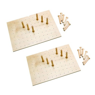 Rev-A-Shelf 4DPS-3021 Medium 30 x 21 Inch Wood Peg Board System for Deep Drawers Organizer with 12 Pegs and Exact Fit Customization, Maple (2 Pack)
