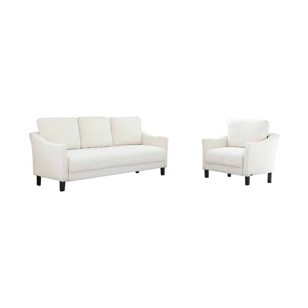 Cleo Fabric Sofa & Armchair Set Ivory - Abbyson Living