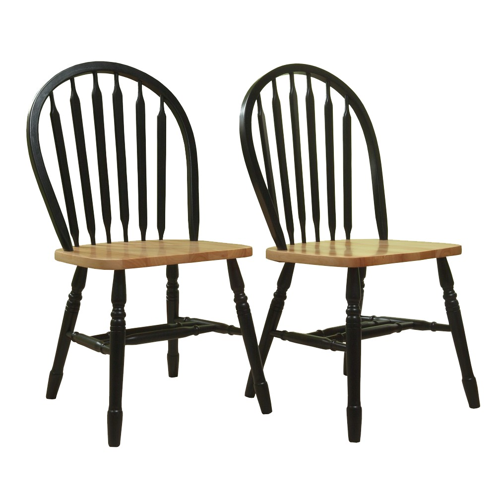 Arrowback Dining Chair Wood/Black/Natural (Set of 2) - Tms