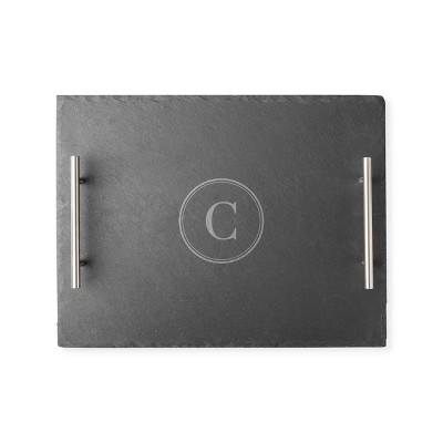 """Cathy's Concepts 11.8"""" x 15.8"""" Slate Personalized Serving Tray with Handles Letter C"""