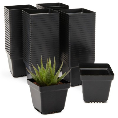 Okuna Outpost 100 Pack Plastic Nursery Pots, Small Square Seed Starter Planter Indoor Outdoor, 3.3 in Black