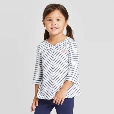 OshKosh B'gosh Toddler Girls' Heart Striped Blouse - White 18M