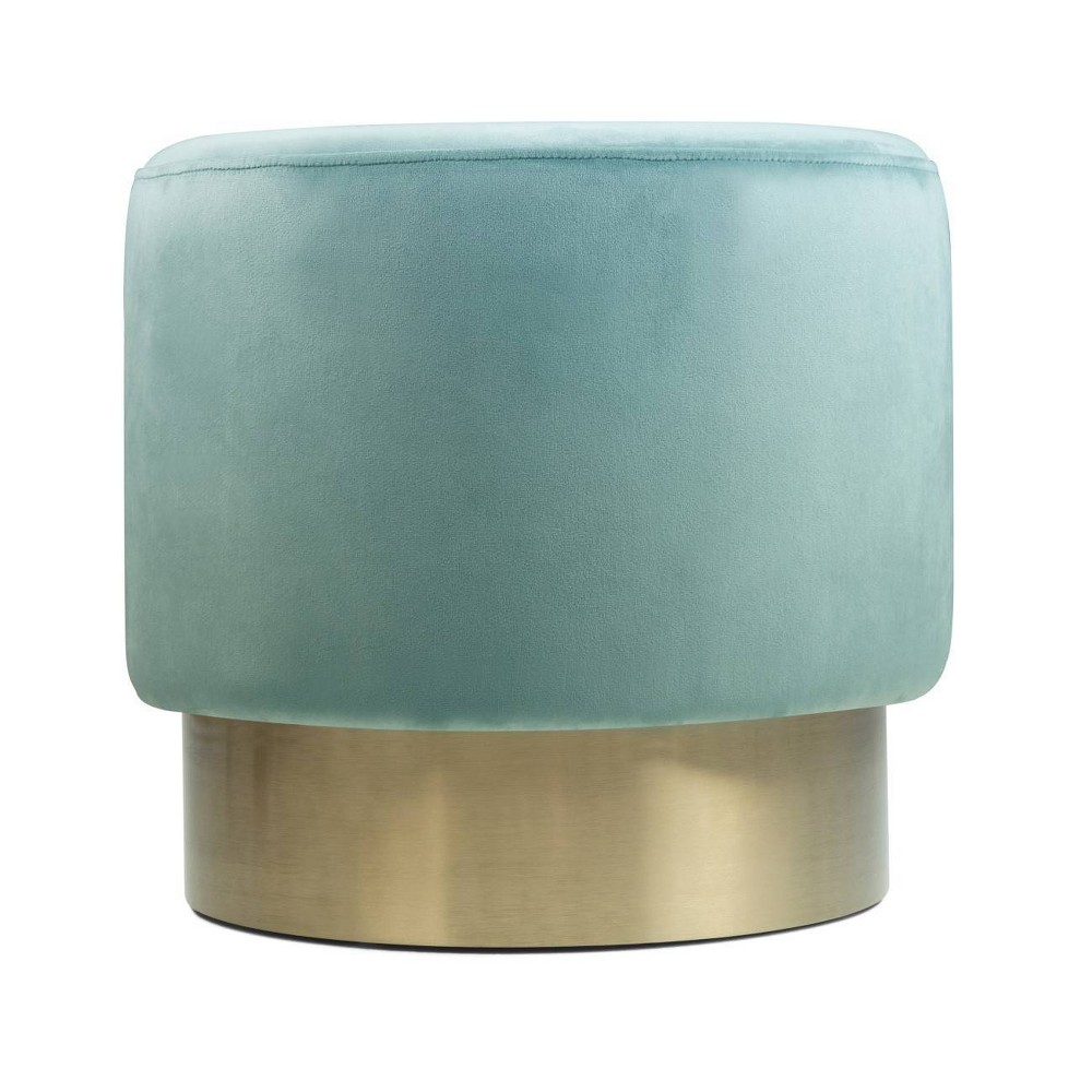 "Image of ""16"""" Ainsley Small Round Footstool Sea Foam Green - Wyndenhall"""