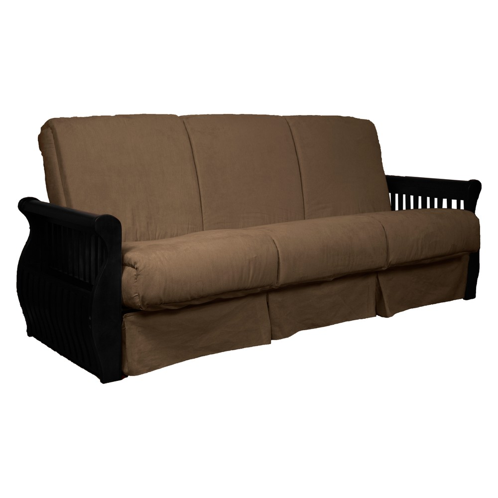 Storage Arm Perfect Futon Sofa Sleeper - Black Wood Finish - Epic Furnishings, Mocha Brown