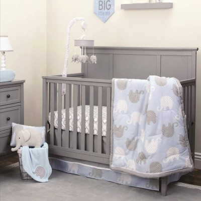 NoJo Elephant Nursery Crib Bedding Set - Blue/Gray