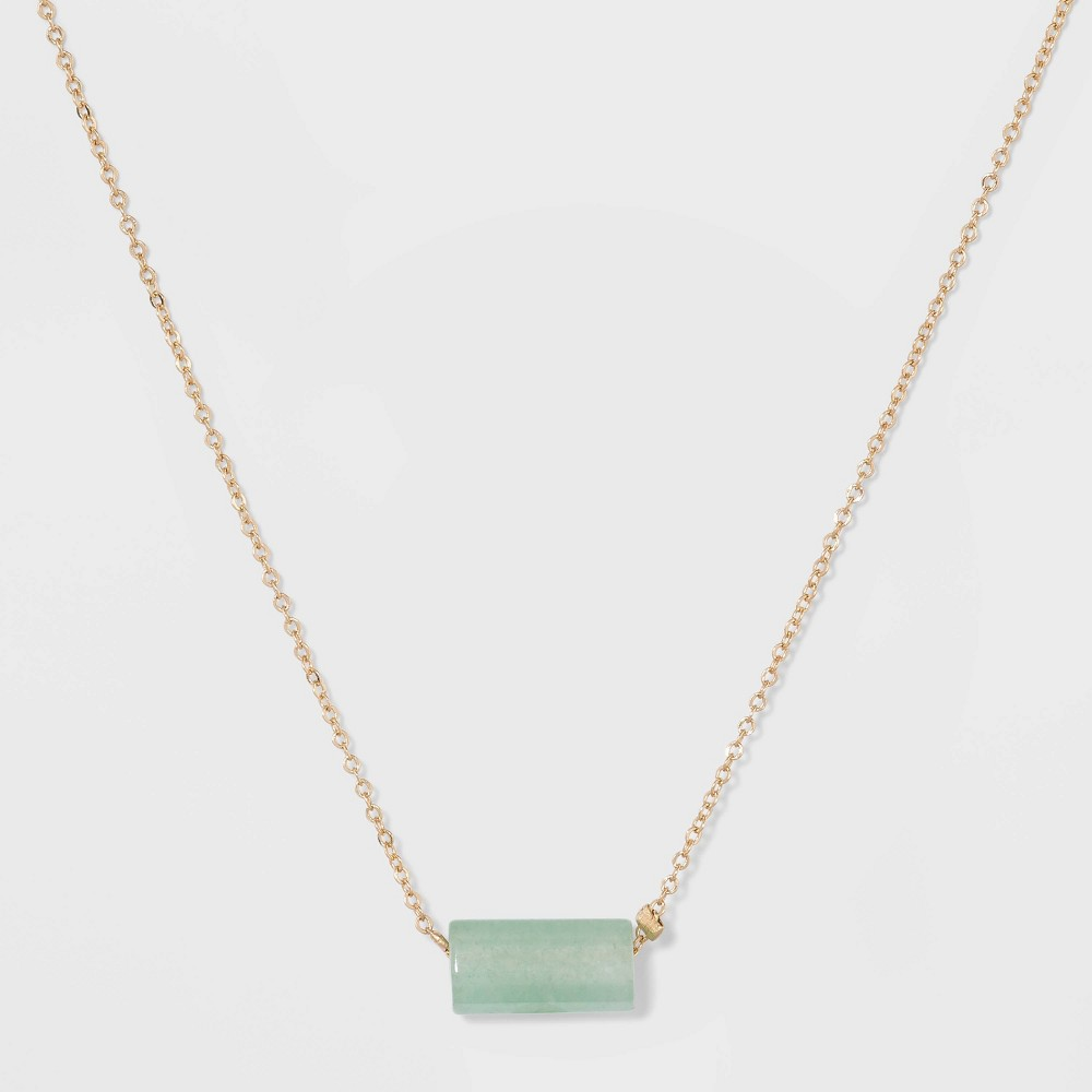Silver Plated Aventurine Barrel Stone Necklace - A New Day Green/Gold, Girl's