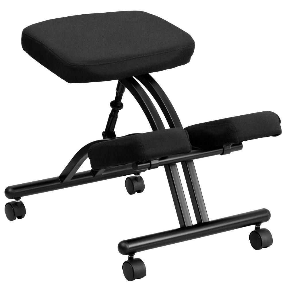 Discounts Mobile Ergonomic Kneeling Chair in Black Fabric - Belnick